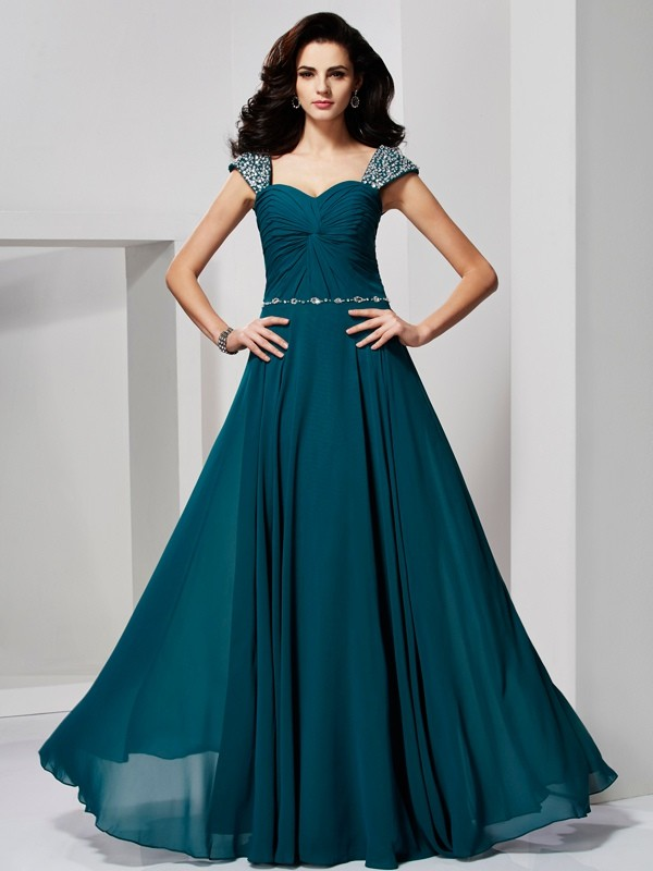 A-Line Sweetheart Floor-Length Hunter Green Prom Dresses