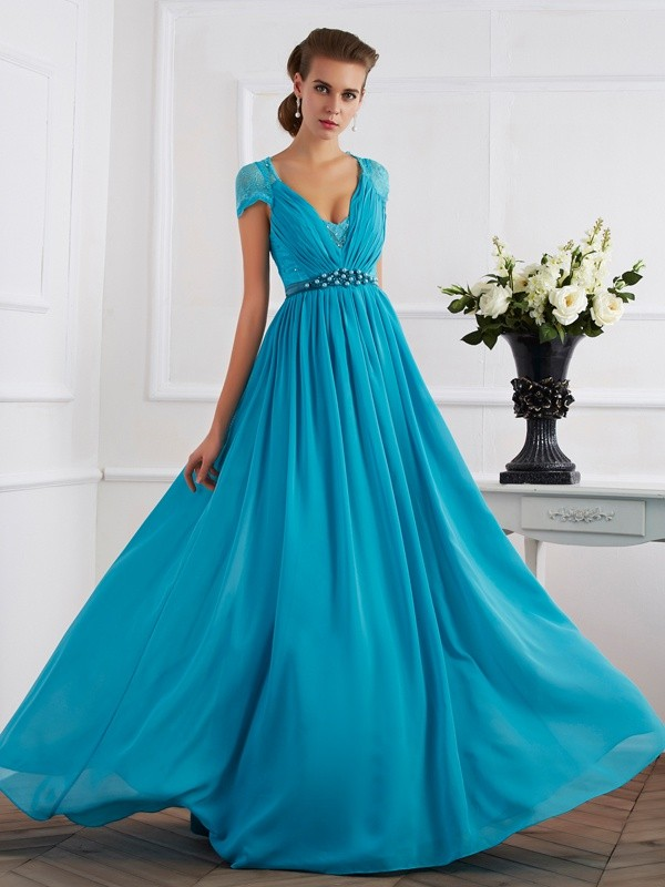 Chiffon Short Sleeves V-neck Floor-Length Royal Blue Prom Dresses