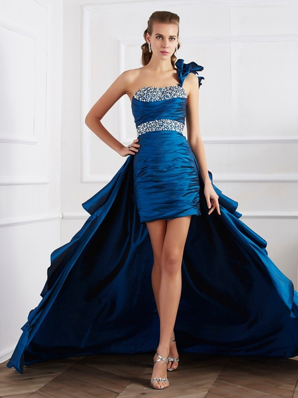One-Shoulder Asymmetrical Royal Blue Prom Dresses with Beading