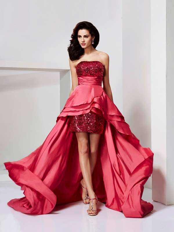 A-Line Strapless Asymmetrical Red Prom Dresses with Lace