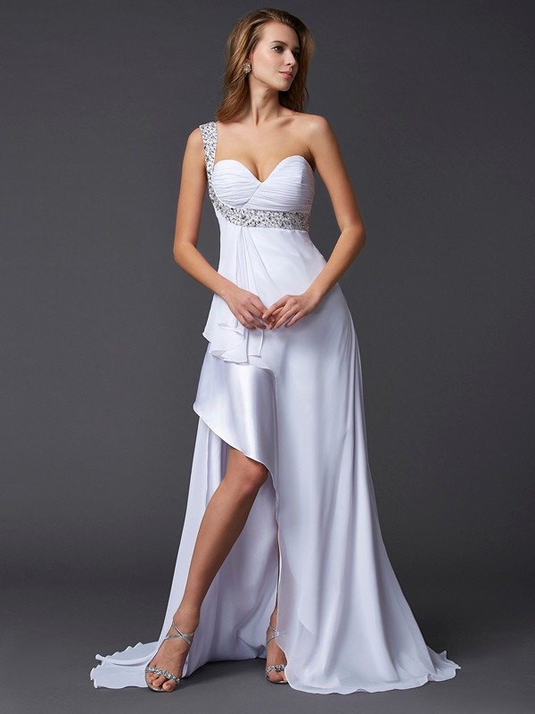Chiffon One-Shoulder Brush Train White Prom Dresses