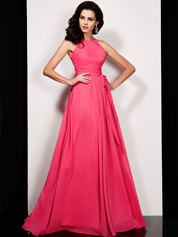 Chiffon High Neck Floor-Length Red Prom Dresses