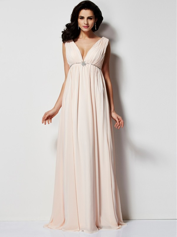 Pearl Pink V-neck Chiffon Floor-Length Prom Dresses
