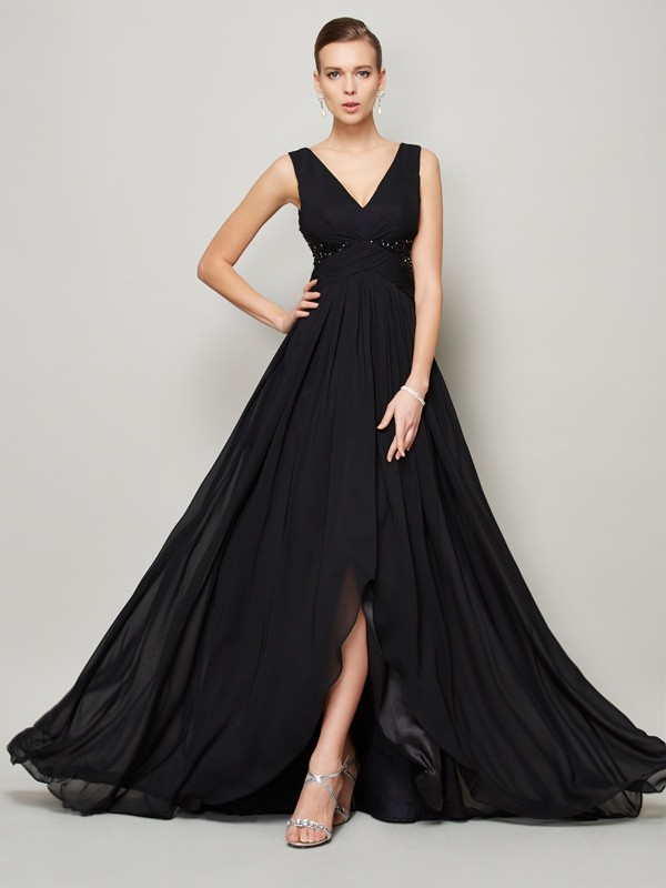 V-neck Floor-Length Black Prom Dresses with Beading