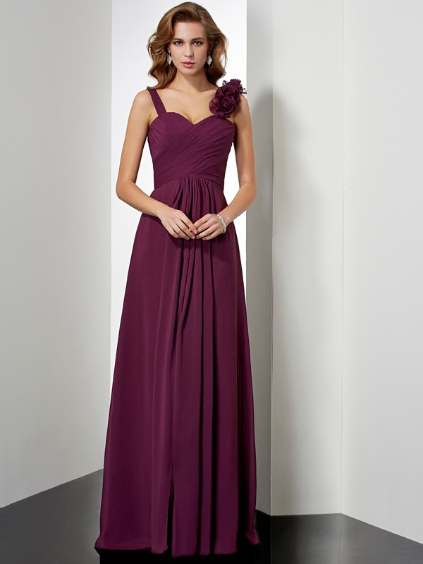 A-Line Straps Floor-Length Grape Prom Dresses