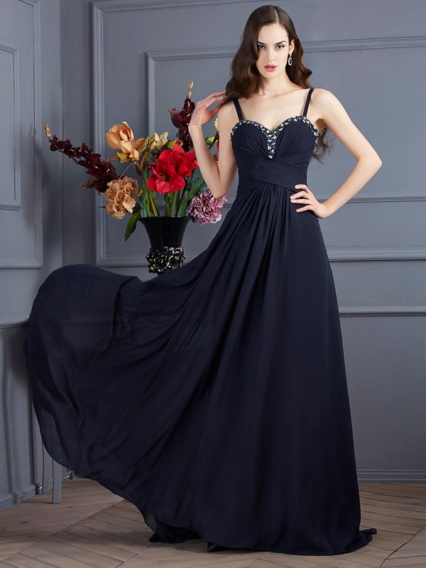 A-Line Chiffon Spaghetti Straps Brush Train Prom Dresses with Beading