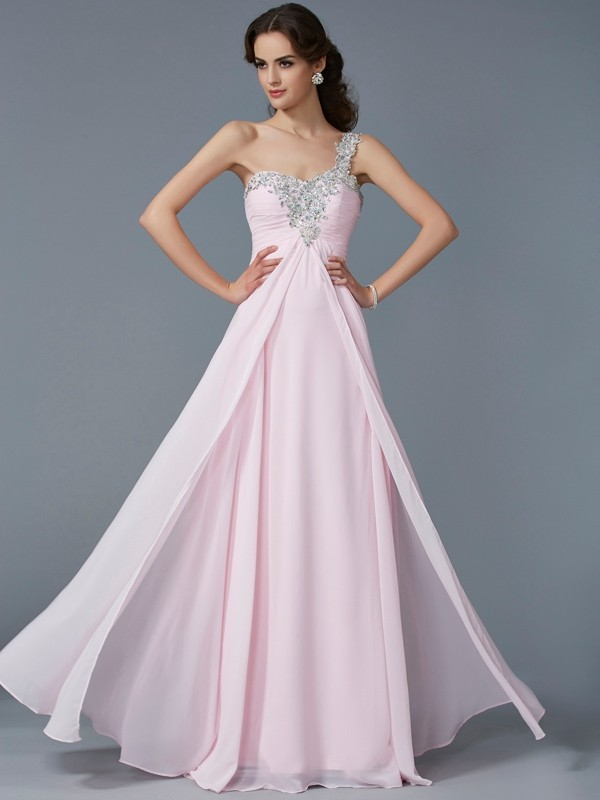Chiffon A-Line Floor-Length One-Shoulder Pink Prom Dresses
