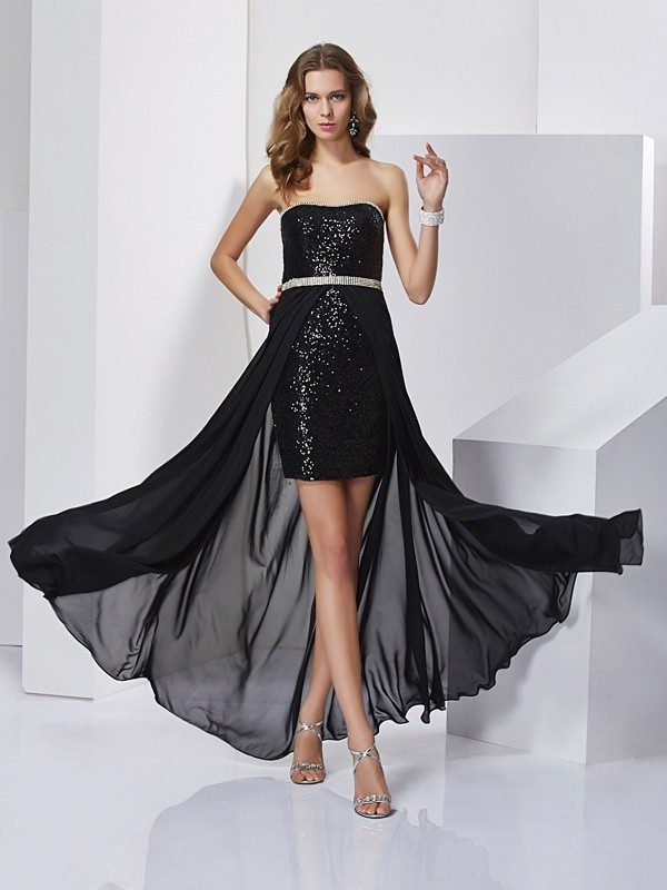 A-Line Chiffon Strapless Short/Mini Black Prom Dresses