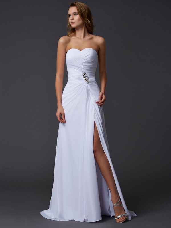 A-Line Sweetheart Brush Train White Prom Dresses with Beading