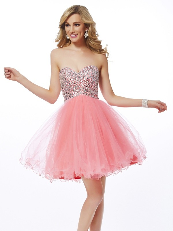Short/Mini Watermelon Sweetheart Homecoming Dresses with Beading