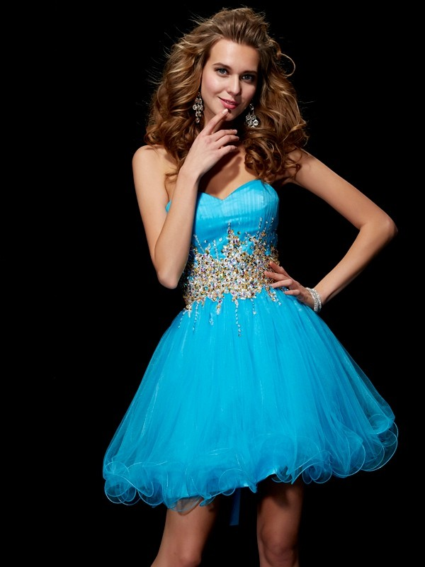 Sweetheart Short/Mini Blue Homecoming Dresses with Beading