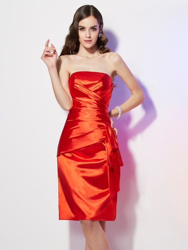 Elastic Woven Satin Strapless Short/Mini Orange Homecoming Dresses