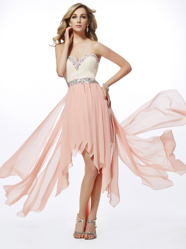 Chiffon A-Line Asymmetrical Sweetheart Pearl Pink Prom Dresses