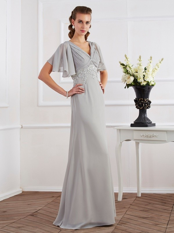 Short Sleeves V-neck Floor-Length Silver Prom Dresses with Beading