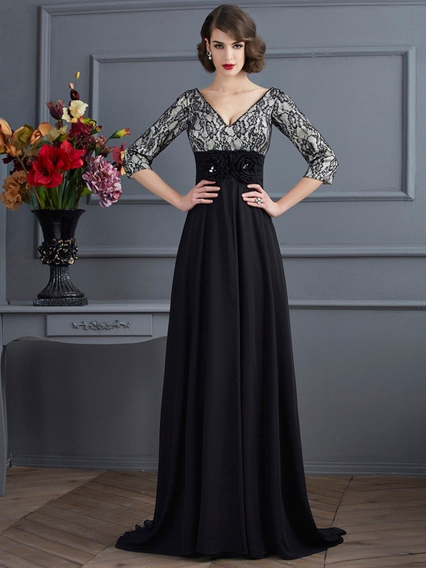Chiffon 3/4 Sleeves V-neck Brush Train Black Prom Dresses
