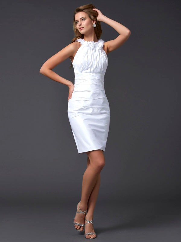 Sheath Taffeta High Neck Short/Mini White Homecoming Dresses