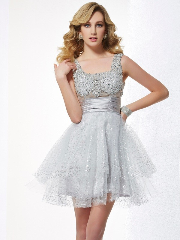 Elastic Woven Satin Straps Short/Mini Silver Homecoming Dresses
