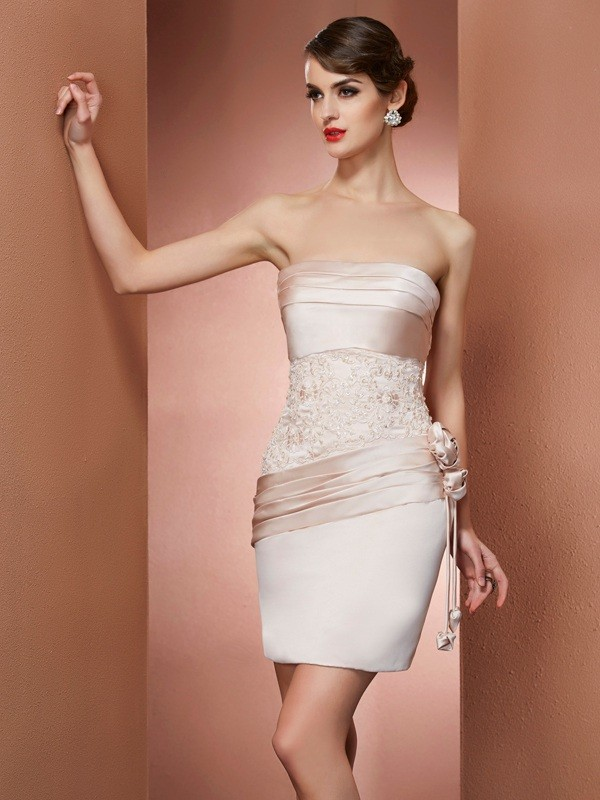 Champagne Strapless Satin Short/Mini Homecoming Dresses