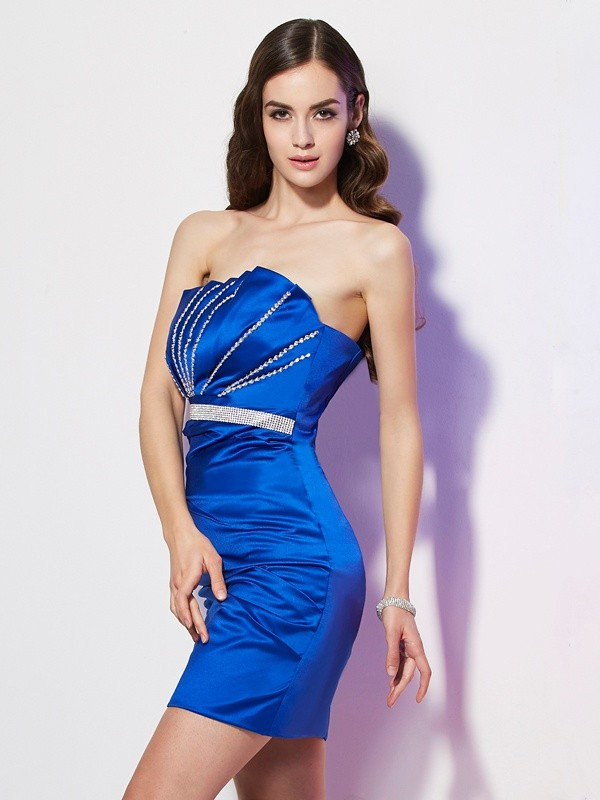 Sheath Strapless Short/Mini Royal Blue Homecoming Dresses with Beading