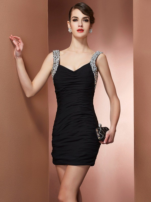 Sheath Chiffon Straps Short/Mini Black Homecoming Dresses
