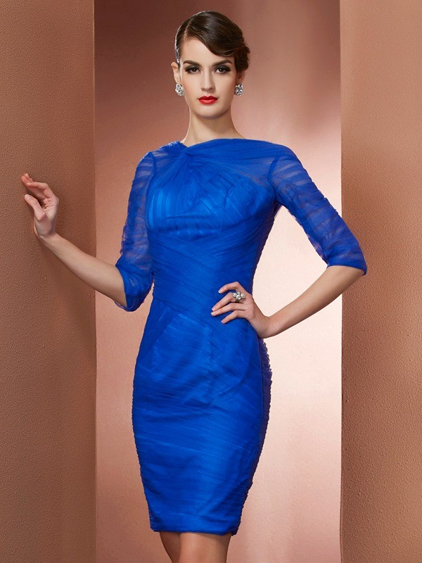 Elastic Woven Satin High Neck Short/Mini Royal Blue Homecoming Dresses