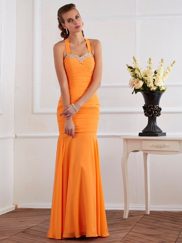 Chiffon Mermaid Floor-Length Halter Orange Prom Dresses