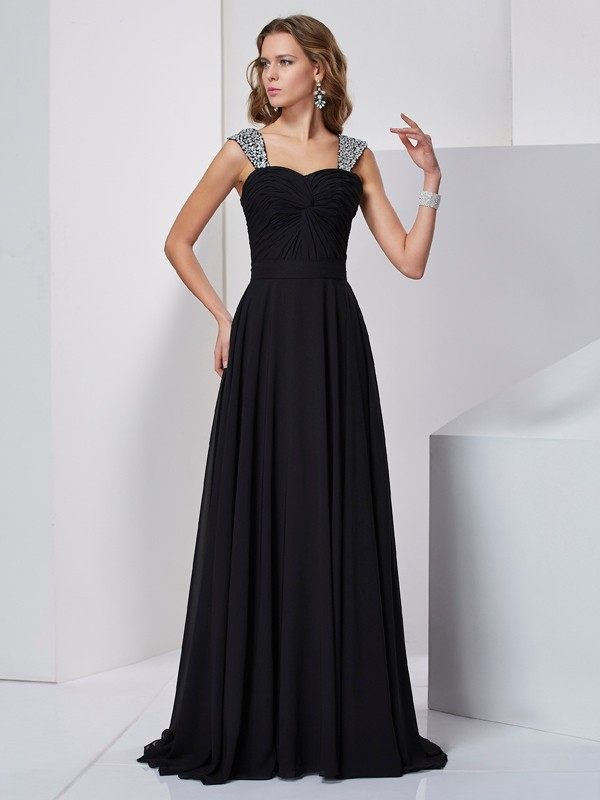 A-Line Straps Brush Train Black Prom Dresses with Beading