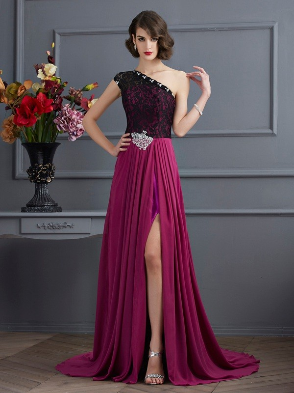 A-Line One-Shoulder Brush Train Fuchsia Prom Dresses