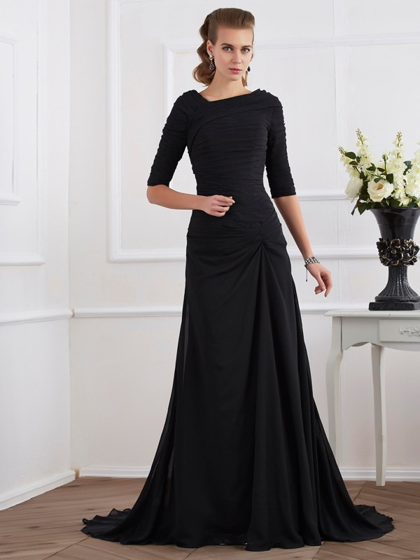 Chiffon Other Brush Train Black Prom Dresses