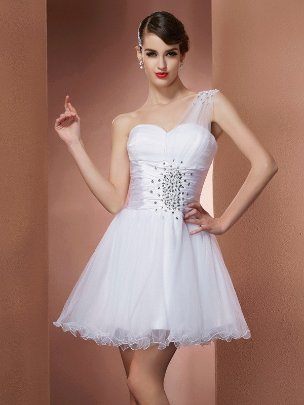 Short/Mini White One-Shoulder Homecoming Dresses with Beading