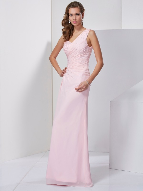 Pink One-Shoulder Chiffon Floor-Length Prom Dresses