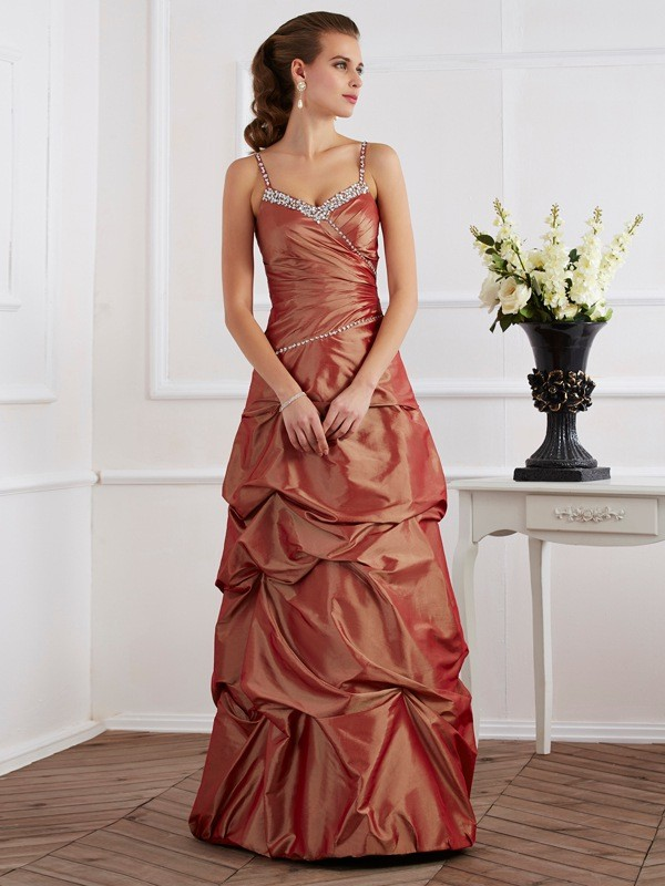 Taffeta Sheath Floor-Length Spaghetti Straps Brown Prom Dresses