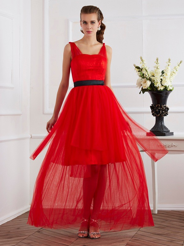 A-Line Straps Ankle-Length Red Prom Dresses