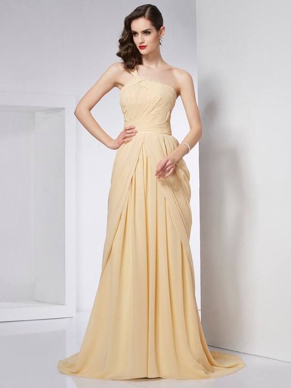A-Line One-Shoulder Chapel Train Champagne Prom Dresses with Pleats