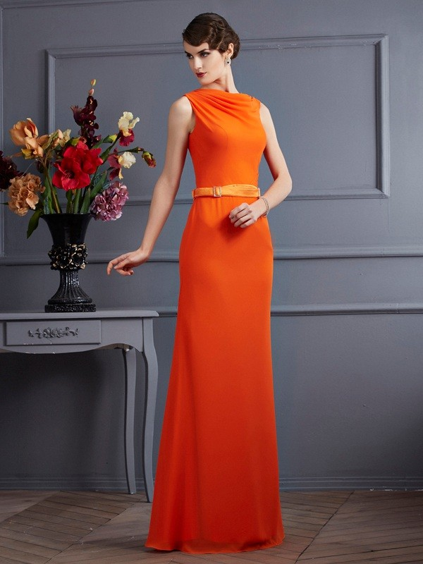 Sheath Chiffon High Neck Floor-Length Orange Prom Dresses
