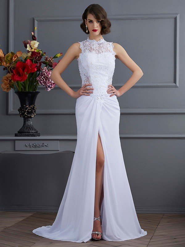 Sheath Chiffon High Neck Brush Train Prom Dresses