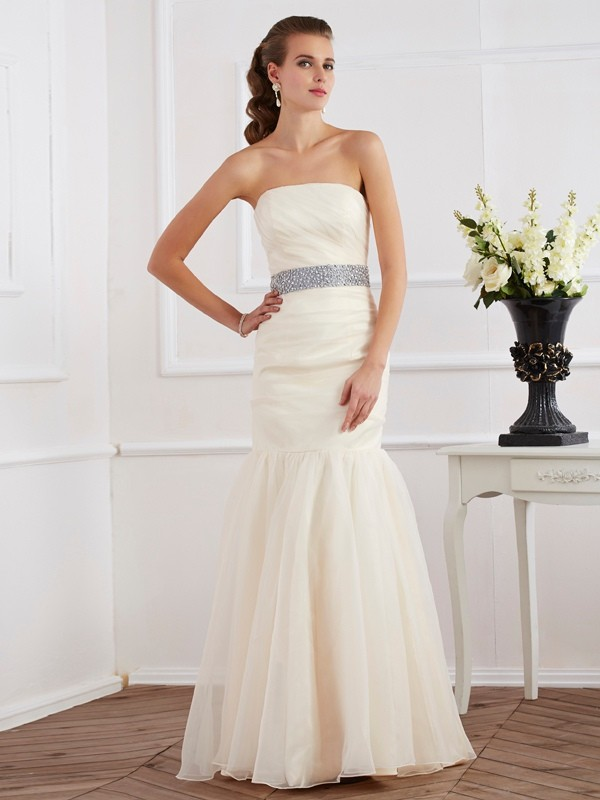 Strapless Floor-Length Ivory Prom Dresses with Sash/Ribbon/Belt