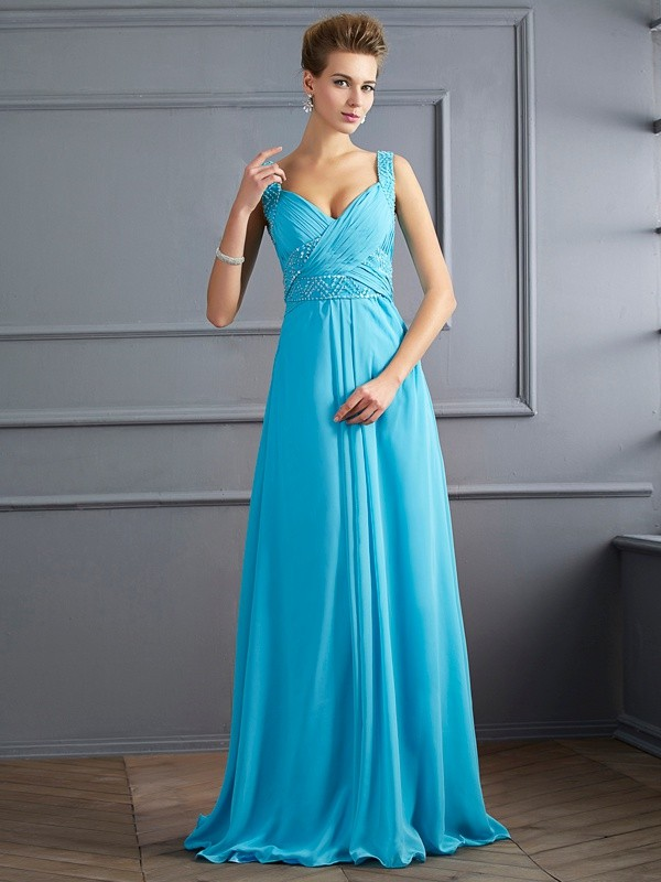 Chiffon Straps Floor-Length Blue Prom Dresses