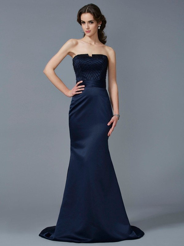 Mermaid Satin Strapless Brush Train Prom Dresses with Beading