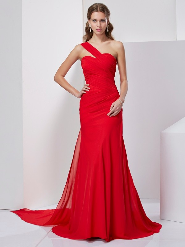 Chiffon One-Shoulder Brush Train Red Prom Dresses