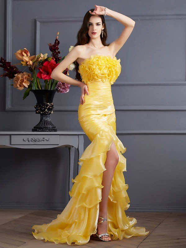 Mermaid Strapless Brush Train Yellow Prom Dresses with Ruffles