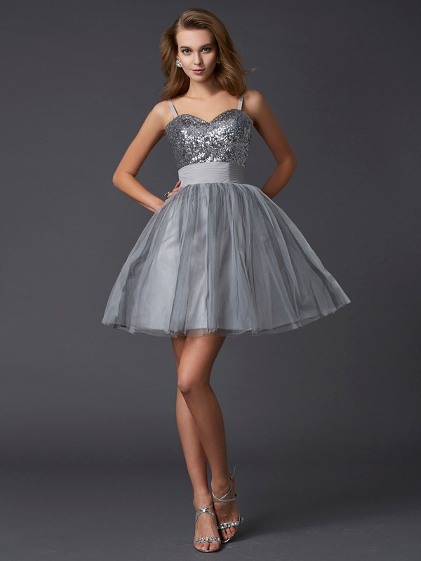 Organza A-Line Short/Mini Spaghetti Straps Grey Homecoming Dresses