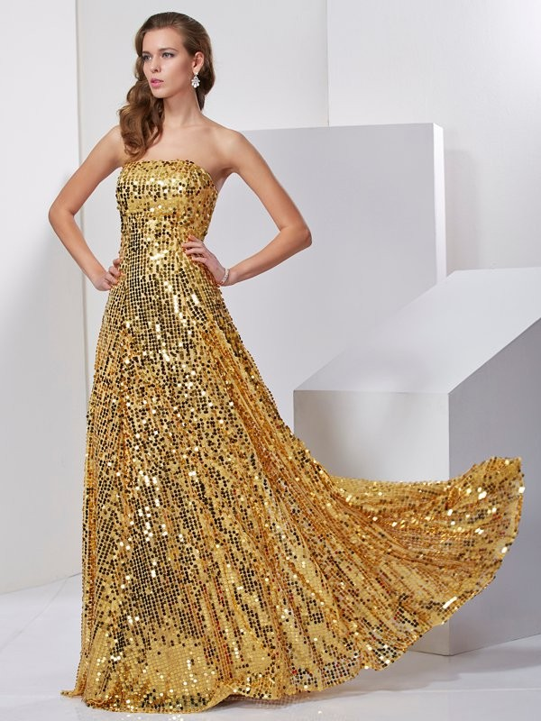 Gold Strapless Satin Floor-Length Prom Dresses
