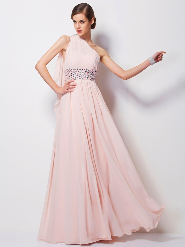 One-Shoulder Floor-Length Pearl Pink Prom Dresses with Beading