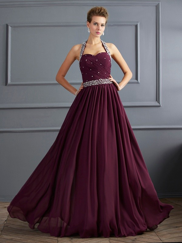 Sheath Halter Floor-Length Grape Prom Dresses