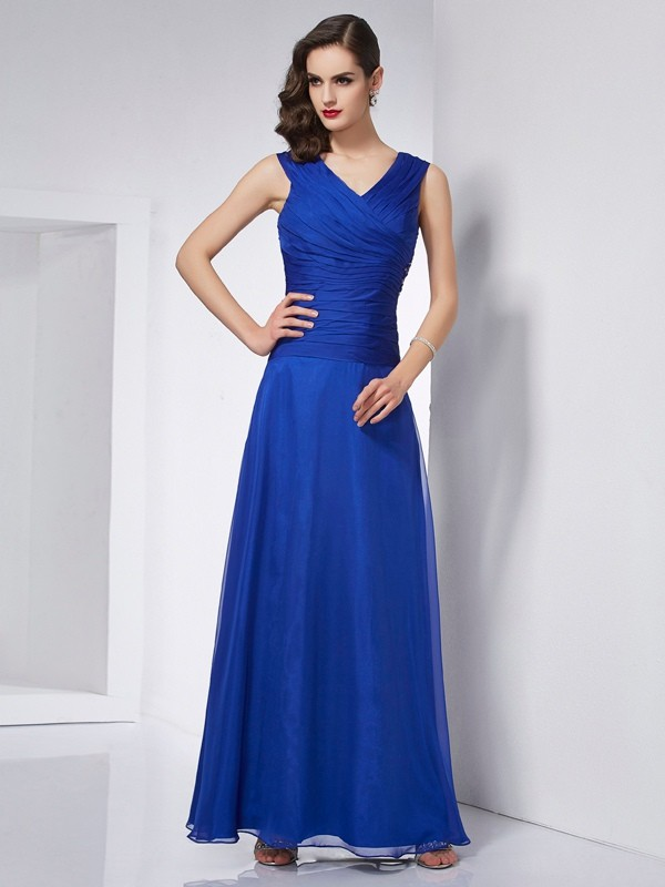 A-Line V-neck Ankle-Length Royal Blue Prom Dresses