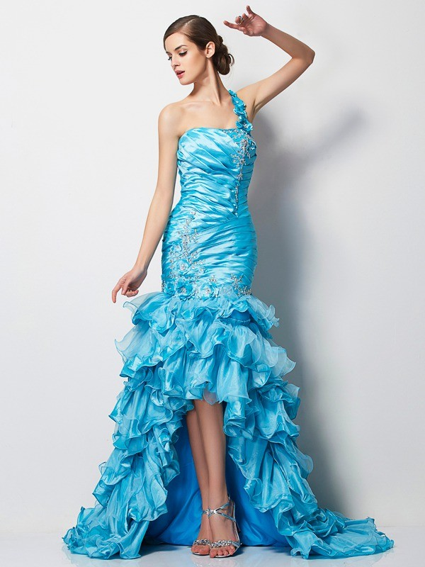 Mermaid One-Shoulder Asymmetrical Blue Prom Dresses with Beading