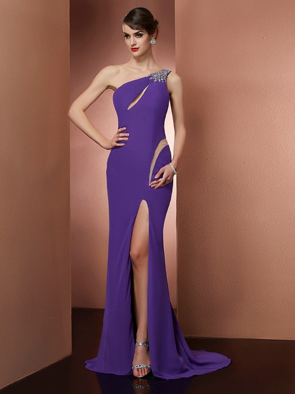 Chiffon A-Line Brush Train One-Shoulder Regency Prom Dresses