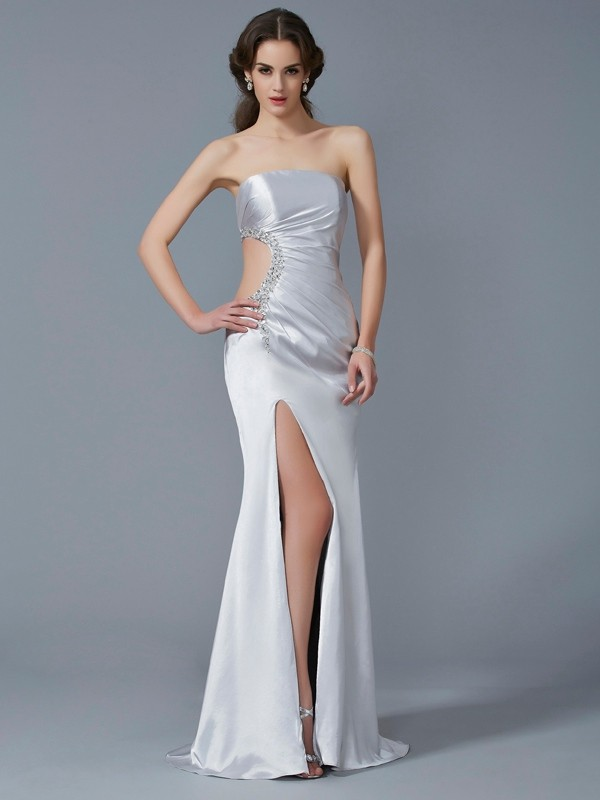 Brush Train Ivory Strapless Prom Dresses with Beading