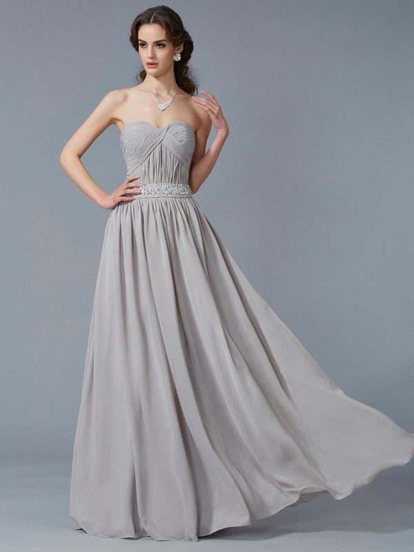 Grey Sweetheart Chiffon Floor-Length Prom Dresses